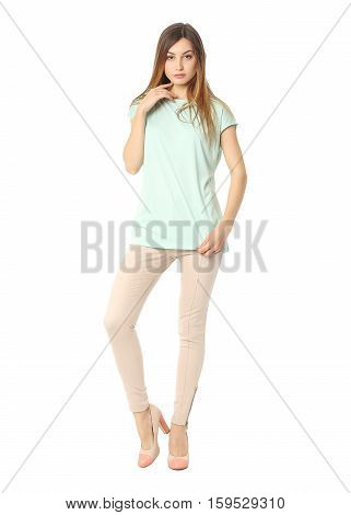 Business Model With Evening Make-up Dressed In Tight Pants