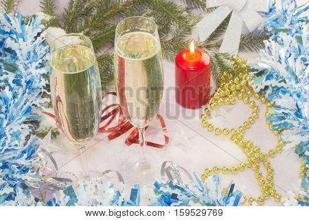 Christmas card with Christmas tree and decorations. Festive Christmas card beautiful champagne glasses