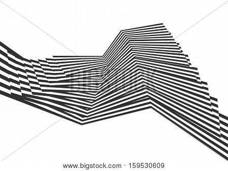 Vector abstract background. Black stripes background for modern design. Effect of optical illusions.