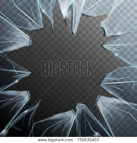 Realistic colored broken glass frame with transparent background and reiterates glass structure vector illustration