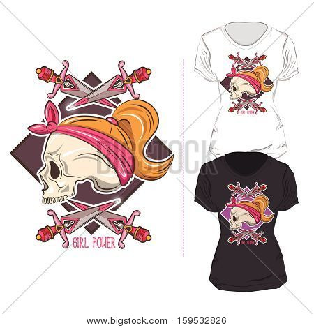 Stylish woman t shirt print design composition in black white color and skull with daggers vector illustration