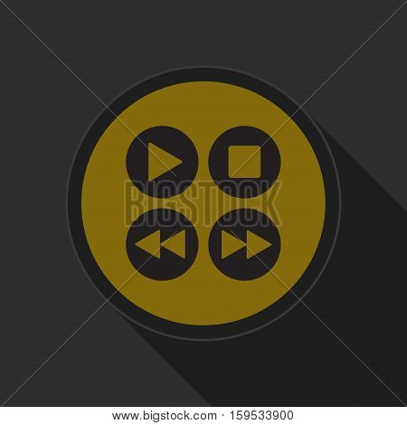 yellow round button with black four music control buttons icon and long shadow