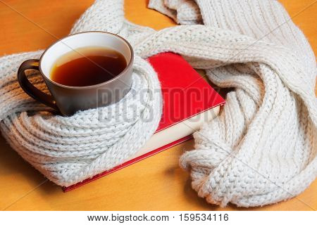 Cup of tea and book with scarf