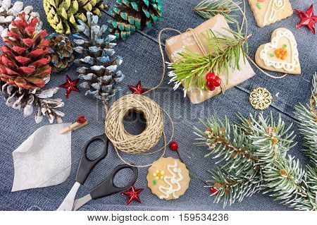 Decorations And Tools For Packing Christmas Present