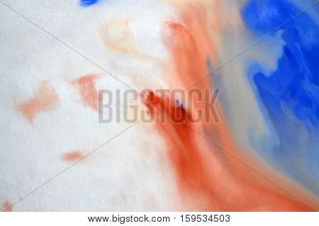 Blurred spreads abstract lines of white, brown, blue colors. Spreads blurred fuzzy paint on the surface. Abstract blurred background basis backdrop. Creative artistic background blur