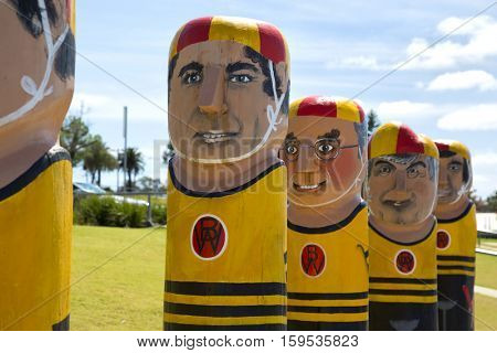 GEELONG, AUSTRALIA - OCTOBER 23, 2016:  Some of the 104 different bollards in Geelong along the baywalk.  All made by Jan Mitchell and represent a chronicle of the city's past.