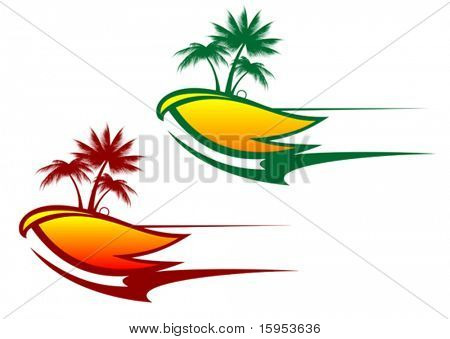 Tropical abstract background with palms and circles - also as emblem or logo. Jpeg version also available in gallery