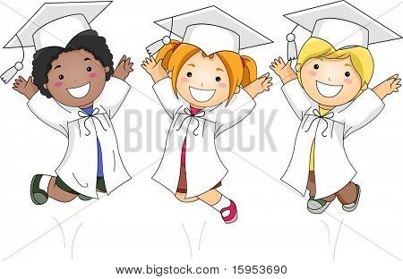 Illustration of Kids Jumping Happily