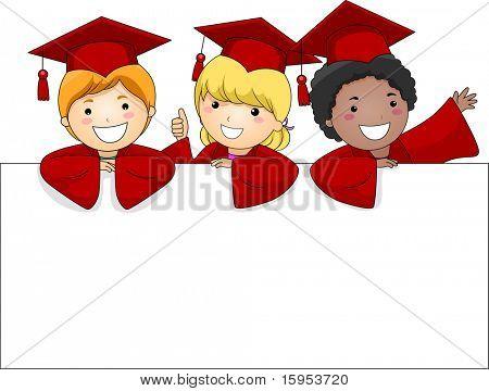Illustration of Kids Posing Behing a Large Banner