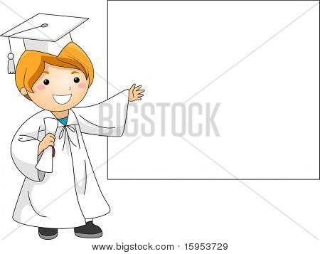 Illustration of a Kid Presenting a Banner