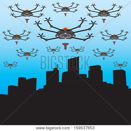 City is under attack by a multitude of drones with bombs