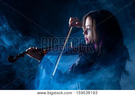 Rock Woman with Leather Jacket Playing a Violin