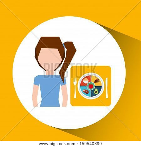 avatar girl plate food healthy vector illustration eps 10
