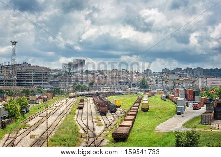 Train Railways And Cargo Containers At Belgrade, Serbia