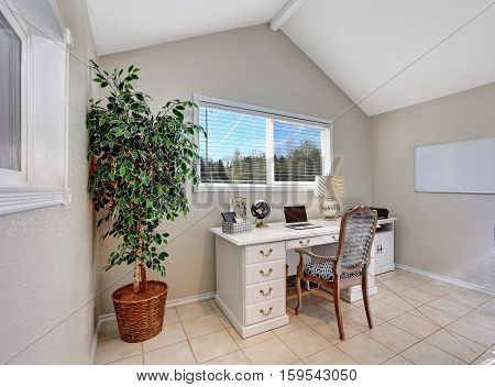 Home Office Interior Filled With White Desk