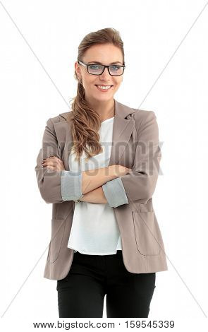 Portrait of young happy smiling businesswoman isolated against w