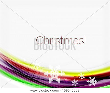 Color wave line with snowflakes, winter business background template