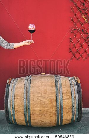 Winemaker Getting Sample Of Red Wine From Barrel.