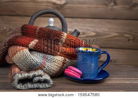 Kettle And A Blue Coffee Cup, Macaroni.in A Wooden House, Winter Knitted Scarf