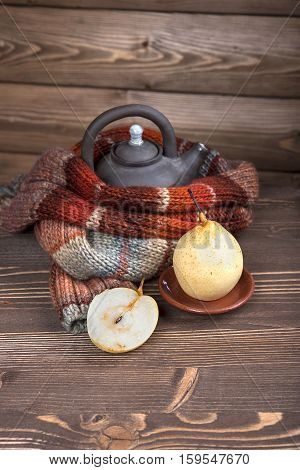 Kettle And White Pear In A Wooden House, Winter Knitted Scarf