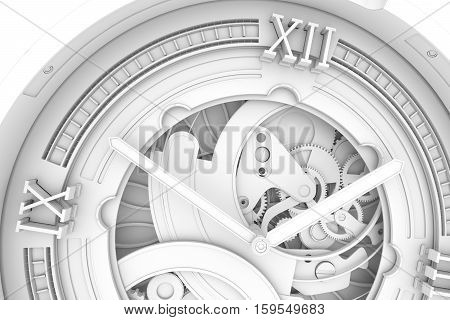 Abstaract 3D Rendering Illustration Of Watches With Gears. Ambient Occlustion Pass.