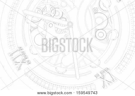 Abstaract 3D Rendering Outline Lines Of Watches.