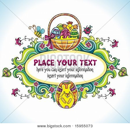 Holiday Easter Frame with white space for your text: Traditional basket with colorful painted easter eggs, cute chicken, egg with drawing of bunny. Floral elements like flowers and plants