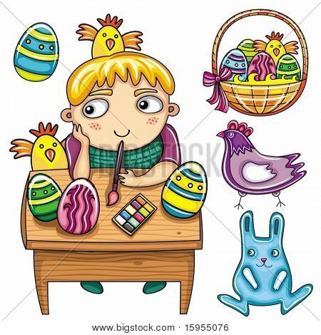 Happy little boy painting the easter eggs. Easter kids series 1