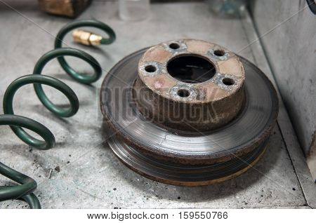 Used brakes disk. Old car part. Removed part.