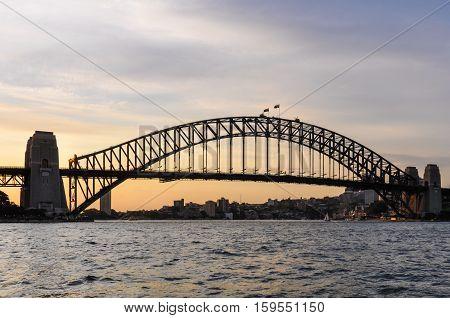 Sunset colors at the Harbour Bridge in Sydney Australia