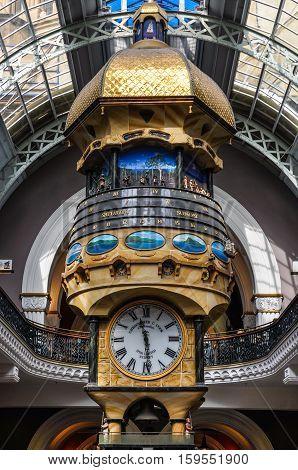 Hanging Clock In Queen Victoria Building In Sydney, Australia