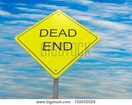 Yellow Road Sign Dead End Against A Cloudy Sky 3d illustration