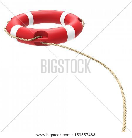 Red and white lifebuoy flying in the air isolated on white background. 3D rendering. Rescue concept image