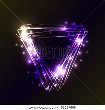 Violet and blue neon colors triangle background. Triangle Frame with Lights and flashes effects. Vector illustration, abstract background.