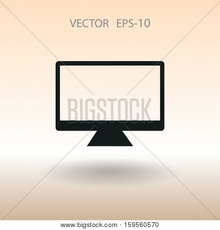 Flat icon of monitor. vector illustration