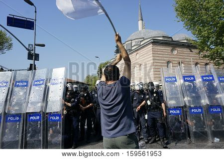 ISTANBUL, TURKEY - MAY 1: The demonstrators who are against to prohibition of 1 May celebration were arrested by the police on May 1,2013 in Istanbul,Turkey
