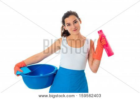young cutie maid woman in uniform with cleansers isolated on white background