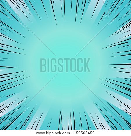 Abstract comic book flash bright blue explosion radial lines background. Vector illustration for superhero design. Light strip burst. Flash ray blast glow Manga cartoon hero fight cute print