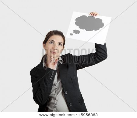 young businesswoman holding a sheet of paper with a thought balloon