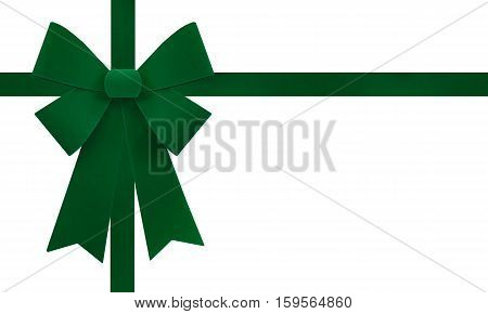 Large green Christmas bow isolate on white background