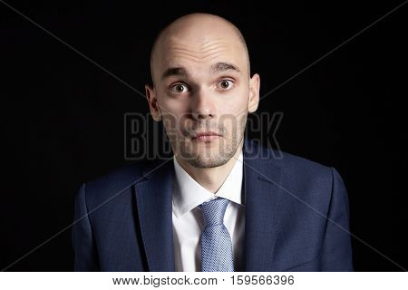 Scared Young Businessman