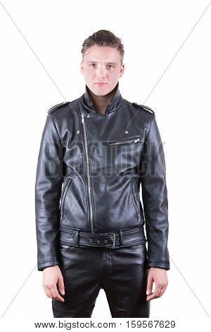 Handsome fashion man beauty male model portrait wear black leather jacket and pants young guy over white isolated background