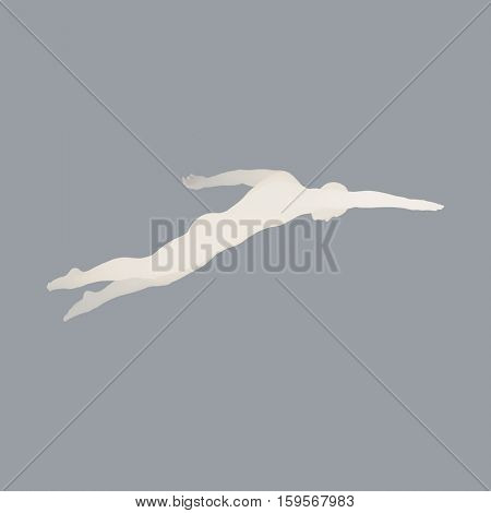 3D Swimming Man. Vector Image of a Swimmer. Human Body. Sport Symbol. Design Element.