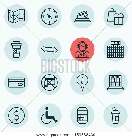 Set Of Travel Icons On Takeaway Coffee, Shopping And Info Pointer Topics. Editable Vector Illustration. Includes Shopping, Takeaway, Card And More Vector Icons.