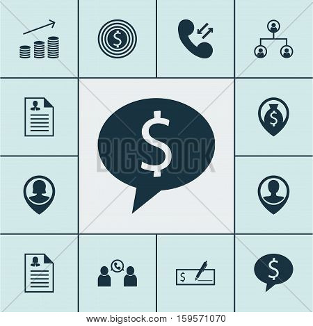 Set Of Hr Icons On Tree Structure, Cellular Data And Business Goal Topics. Editable Vector Illustration. Includes Organisation, Cash, Coins And More Vector Icons.