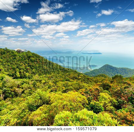Tropical Landscape. Mountains And Sea