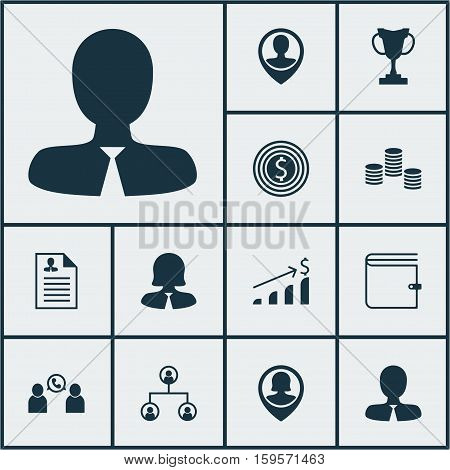 Set Of Management Icons On Business Goal, Money And Wallet Topics. Editable Vector Illustration. Includes Profile, Purse, User And More Vector Icons.