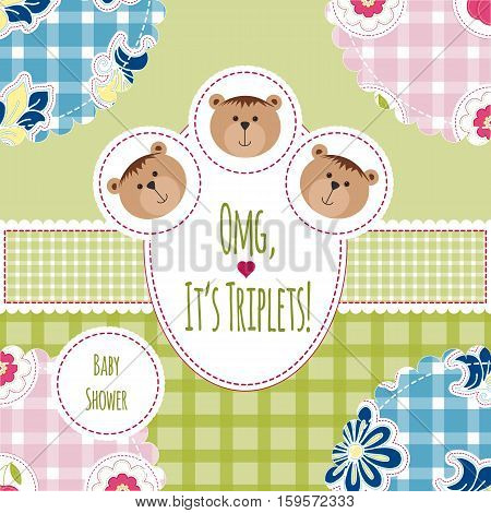 Three happy triplets. Baby arrival announcement card. Triplets baby girls and boys shower card cute newborn. Teddy bears kid style greeting card vector background. OMG its triplets text