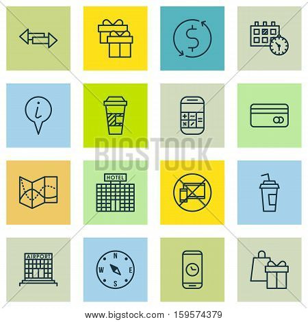Set Of Traveling Icons On Money Trasnfer, Appointment And Hotel Construction Topics. Editable Vector Illustration. Includes Cup, Gift, Crossroad And More Vector Icons.
