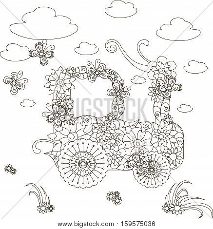 Flowers tractor, adult coloring page anti-stress stock vector illustration
